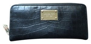 Michael Kors Michael Kors Croc Embossed Continental Leather Wallet