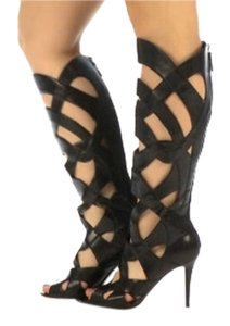 Nine West Gladiator Knee High Leather Black Leather Boots