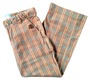 Guess Button Stretch Capris Tan Blue Brown Plaid Stripe