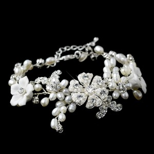 Elegance By Carbonneau Pearl Floral Wedding Bracelet - Petite Length