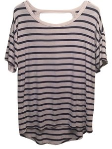 Forever 21 T Shirt White and blue striped