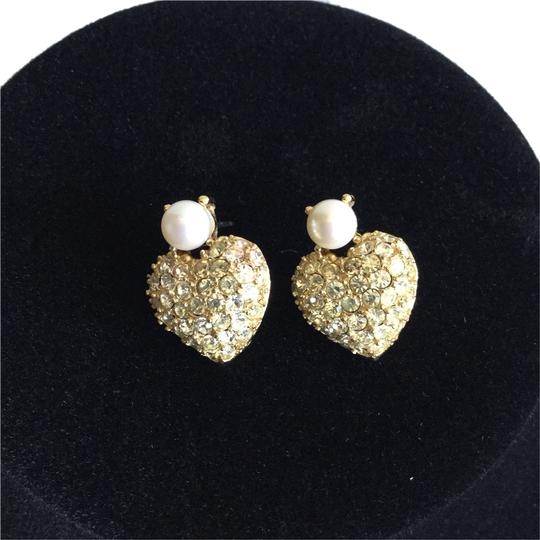 Other Earrings in Heart Shape with Rhinestones, Pearls, Faux Gold Setting