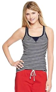 Gap Comfortable Ribbed Casual Summer Top Black and white stripes