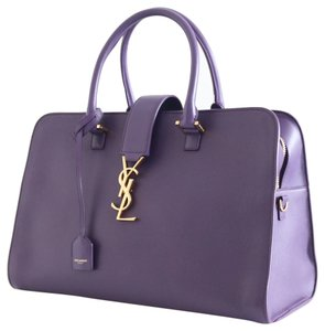 Saint Laurent Ysl Monogram Medium Gold Hardware Calfskin Leather Zip Around Strap Sold Out Rare Satchel in PURPLE