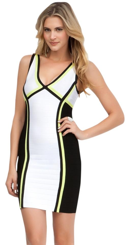 Bebe White Wblack Lime Green Stripe Above Knee Night Out Dress Size