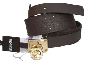 Michael Kors Michael Kors Saffiano Perforated Leather Padlock Chocolate Brown L Wide Belt