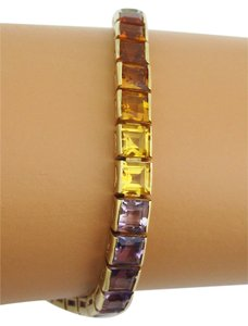 14k Yellow Gold 11.30ct Square Cut Multi-Color Gemstone Rainbow Tennis Bracelet