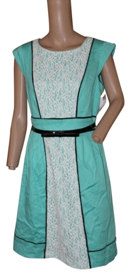 Mint Green White Lace And Black Piping Short Workoffice Dress Size 6 S 85 Off Retail