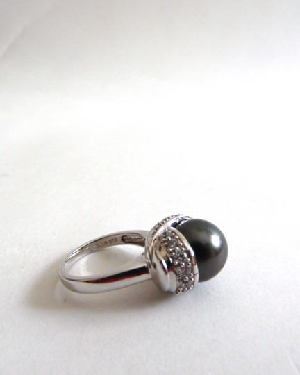 Pearlfection Pearlfection .925 Faux Black South Sea Pearl Ring Size 7