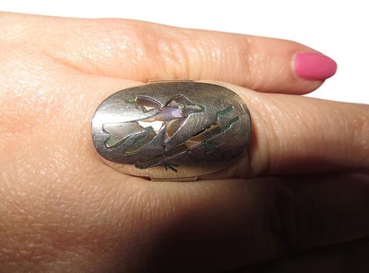 Other Vintage Taxco Mexico Abalone Bird Inlay Sterling Silver Ring