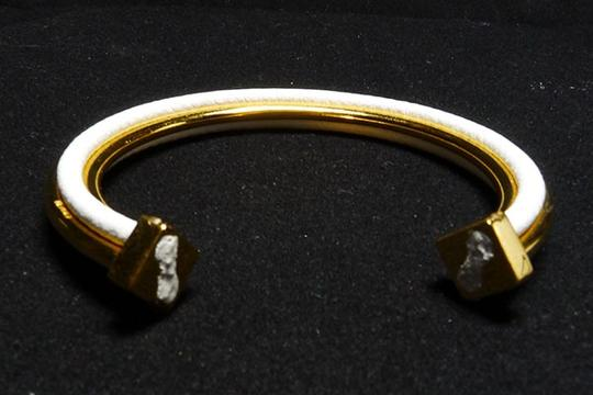 Hermès Authentic Hermes Vintage White Leather and Gold Plate Jackie Bracelet Ultra Rare