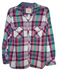 Sonoma Button Down Shirt Pink/Purple/Turquiose/White Plaid