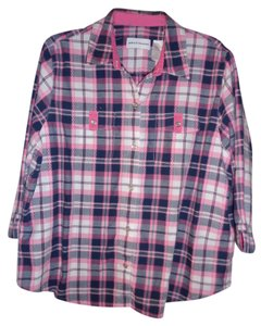 Alfred Dunner Button Down Shirt Black/Pink Plaid