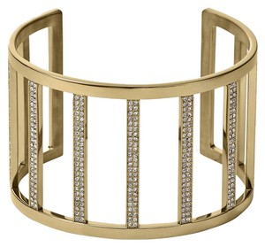 Michael Kors Michael Kors Pave Gold Bar Cage Wide Cuff Bracelet Stainless Steel MKJ3761