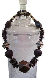Exotic Vintage Mixed Wood Bead Statement Necklace