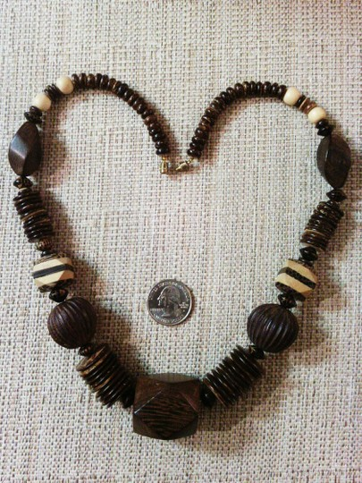 Other Exotic Vintage Mixed Wood Bead Statement Necklace
