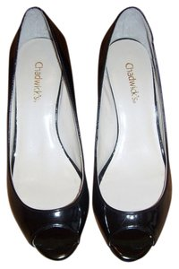 Chadwicks Black Patent Leather Wedges