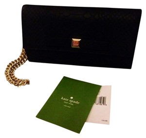 Kate Spade Elbow Leather Black Gold Clutch