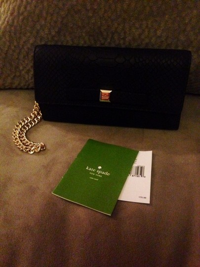 Kate Spade Elbow Purse Leather Black Gold Clutch