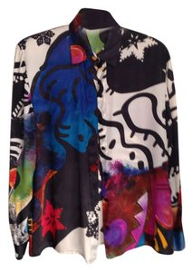 Louis Feraud Vintage Silk Abstract Top Multicolor