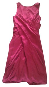 Nicole Miller Ruched Cross-over Silk Red Dress