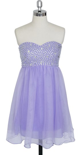 Purple Chiffon Crystal Beads Bodice Sweetheart Short Modern Dress Size 6 (S)