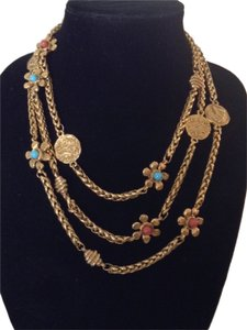 Chanel RARE VINTAGE CHANEL 1980's GRIPOIX FLOWER COIN SATOIR NECKLACE