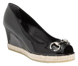 Gucci Designer Patent Leather Black Wedges