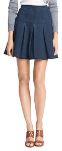 Diane von Furstenberg Pleated Denim Mini Skirt Indigo