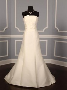 Anne Barge Ivory Silk La Fleur 168 Modern Wedding Dress Size 8 (M)