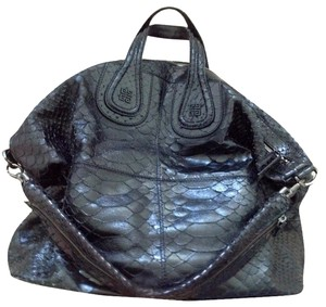 Givenchy Purse Snakeskin Leather Nightingale Satchel Classic Coveted Rare Hard To Find Tote in Black