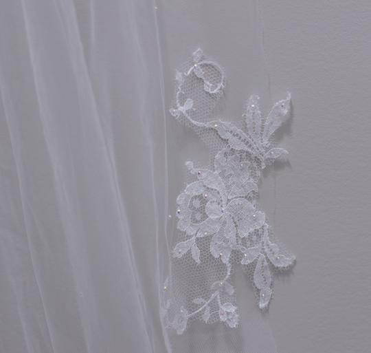 White Long Delicate Cathedral Length Bridal Veil