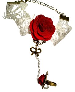 New Slave Jewelry Bracelet With Ring White Lace Red Rose J1167
