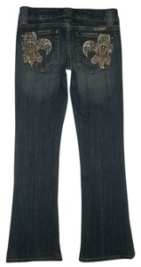 Miss Me 5 Pocket Style Zip Fly Boot Cut Jeans-Dark Rinse