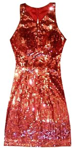 Adrianna Papell Sequin Keyhole Halter Dress