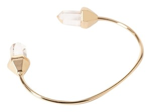 Other Clear Natural Stone Druzy Gold Bangle Bracelet