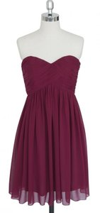 Red Chiffon Burgundy Strapless Sweetheart Pleated Bust Modern Dress Size 6 (S)