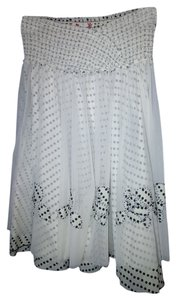 Free People Sheer Polka Dot Flowy Boho Skirt White