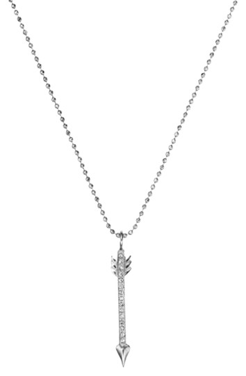 Michael Kors Michael Kors Silver Arrow Adjustable Necklace Crystals Pendant Image 0