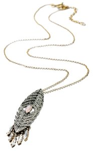 Private Collection Pave Stone Feather Pendant Necklace