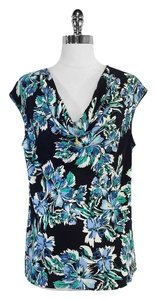 St. John Floral Silk Blend Sleeveless Top