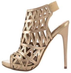 Steve Madden Cutout Strappy Sandals Women Heels Metallic Booties gold Pumps