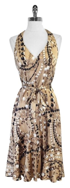 Preload https://item1.tradesy.com/images/trina-turk-taupe-and-black-bead-print-silk-blend-halter-high-low-short-casual-dress-size-4-s-5300275-0-0.jpg?width=400&height=650