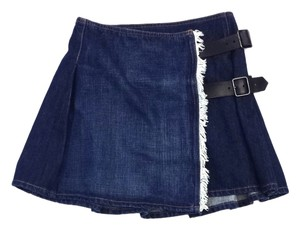 Burberry Denim Pleated Skirt