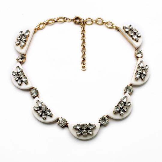 Other White Modern Floating Scallop Crystal Collar Necklace
