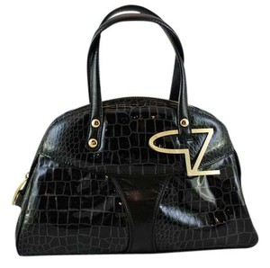 Giuseppe Zanotti Patent Leather Crocodile Satchel in Black