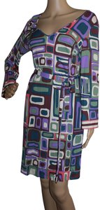Emilio Pucci Multicolor Shift Longsleeve Belted Dress