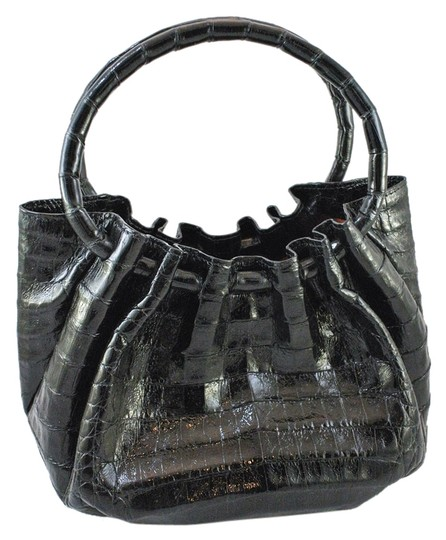 Nancy Gonzalez Crocodile Satchel in Black