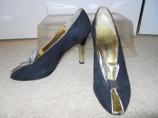 Charles Jourdan Leather Suede Art Deco black & gold Pumps Image 2