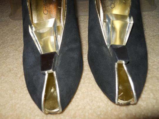 Charles Jourdan Leather Suede Art Deco black & gold Pumps Image 3